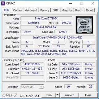 Core i9-7900X 可超频至 4.9GHz。