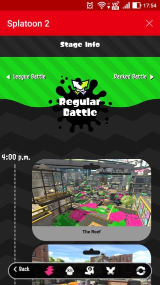 用户利用《Nintendo Switch Online》内置的 Splat Net 2,可以查看对线上对战资讯,知道未来 24 小时的赛制与场地。
