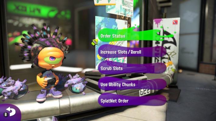 """玩家预订装备之后,可以向游戏 Lobby 旁边的商人,透过""""SplatNet Order""""找寻订单。"""