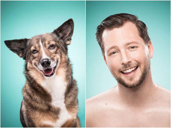"""德国的一位女性摄影师 Ines Opifanti 最近就进行一个别开生面的拍摄企划 """"The Dog People"""",在 """"The Dog People"""" 的企划内,摄影师 Ines Opifanti 会先为犬只拍摄上半身的照片,然后另一边厢吩咐宠物犬的主人模仿犬只的脸部神绪,最后将两张的相片成为一张 Side by Side 的比较相,看看人类间的夫妻相会否在动物界有全新的演绎方式。"""